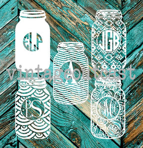 Mason Jar Monogram Decal - Vintage Outcast
