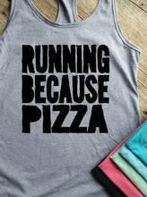 Running Because Pizza Racerback Tank - Vintage Outcast