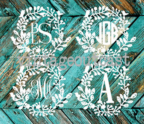 Floral Bird Monogram Decal - Vintage Outcast