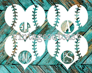 Baseball Heart Monogram - Vintage Outcast