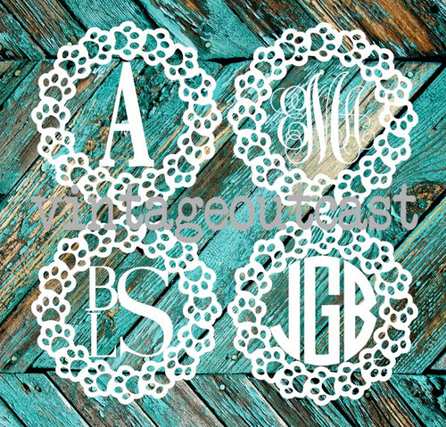 Paw Print Circle Monogram Decal - Vintage Outcast