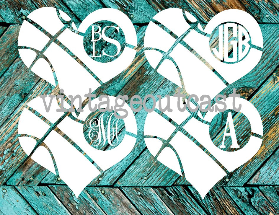 Basketball Heart Monogram - Vintage Outcast
