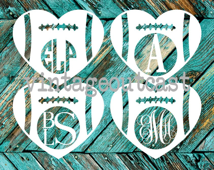 Football Heart Monogram - Vintage Outcast