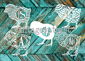 Baby Chick Monogram Decal - Vintage Outcast