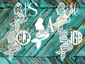 Mermaid Monogram Decal - Vintage Outcast