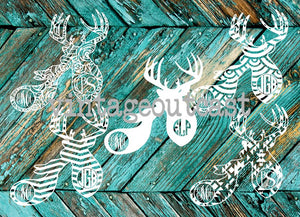 Buck & Doe Couple Monogram Decal - Vintage Outcast