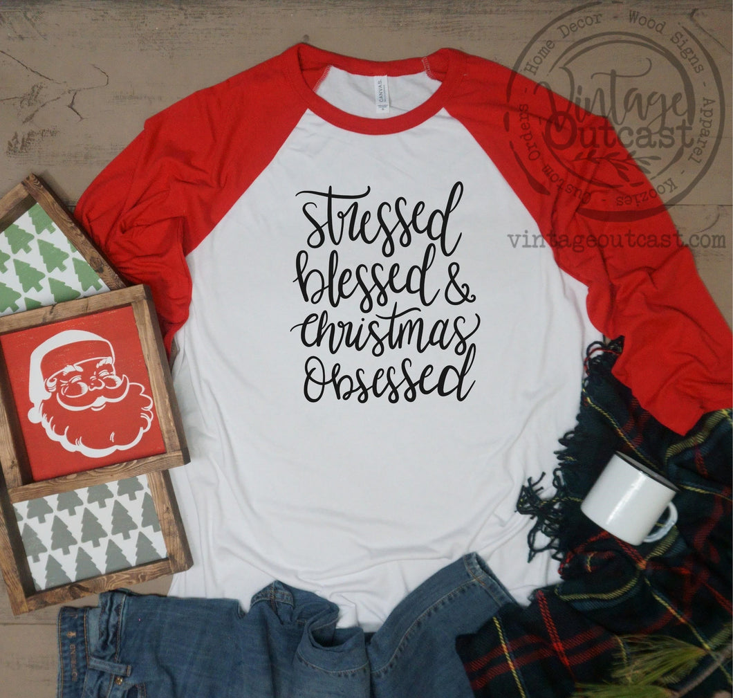 Stressed, Blessed, and Christmas Obsessed - Vintage Outcast