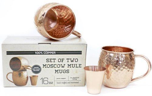 These alluring and attention-grabbing copper mugs and matching shot glass  are perfect for Moscow Mules, and other cocktails and beverages that you  wish to ...