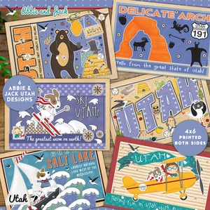 UTAH - Abbie and Jack Utah Postcard Set of 6