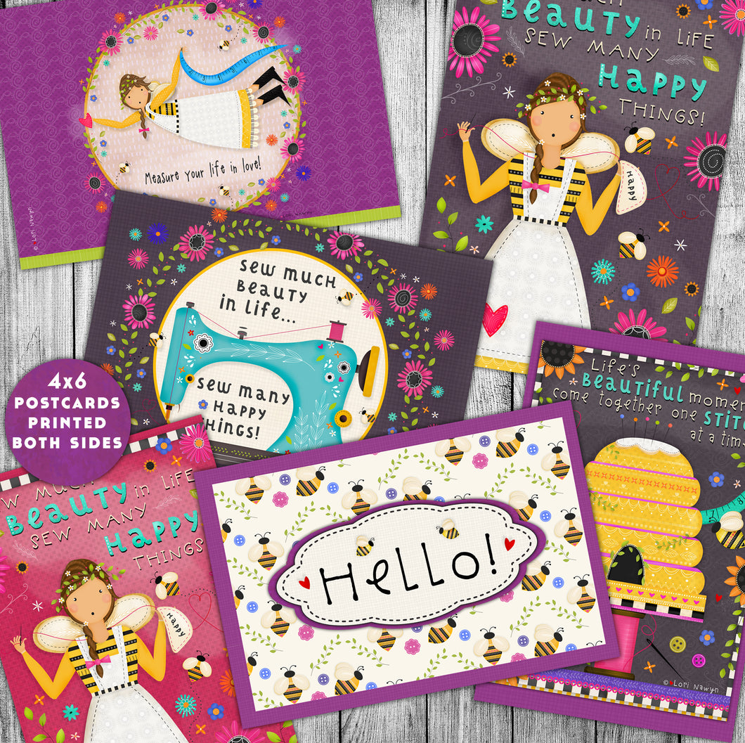 Sewing and Quilting Postcards - Set of 6