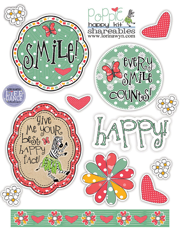 DIY Digital Download - Poppy the Zebra Cutouts - Page 2