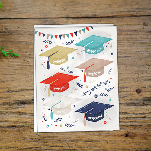 GRADUATION NOTECARD - Grad Hats