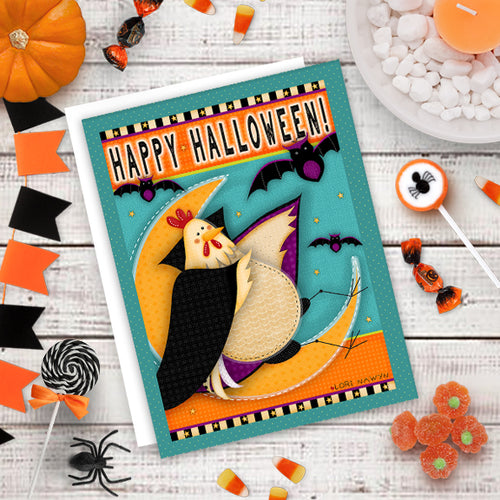HALLOWEEN NOTECARD - Chicken on the Moon