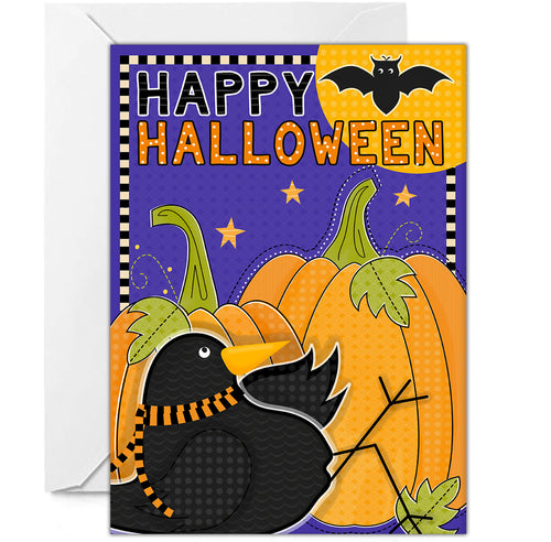 HALLOWEEN NOTECARD - Crow and Bat