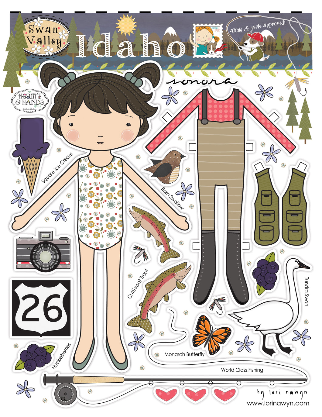 IDAHO - Swan Valley  - DIY DIGITAL DOWNLOAD PAPER DOLL