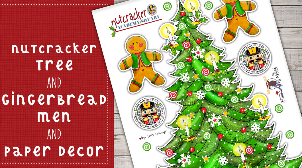 DIY Digital Download - Nutcracker Tree, Gingerbread Men and Paper Decor