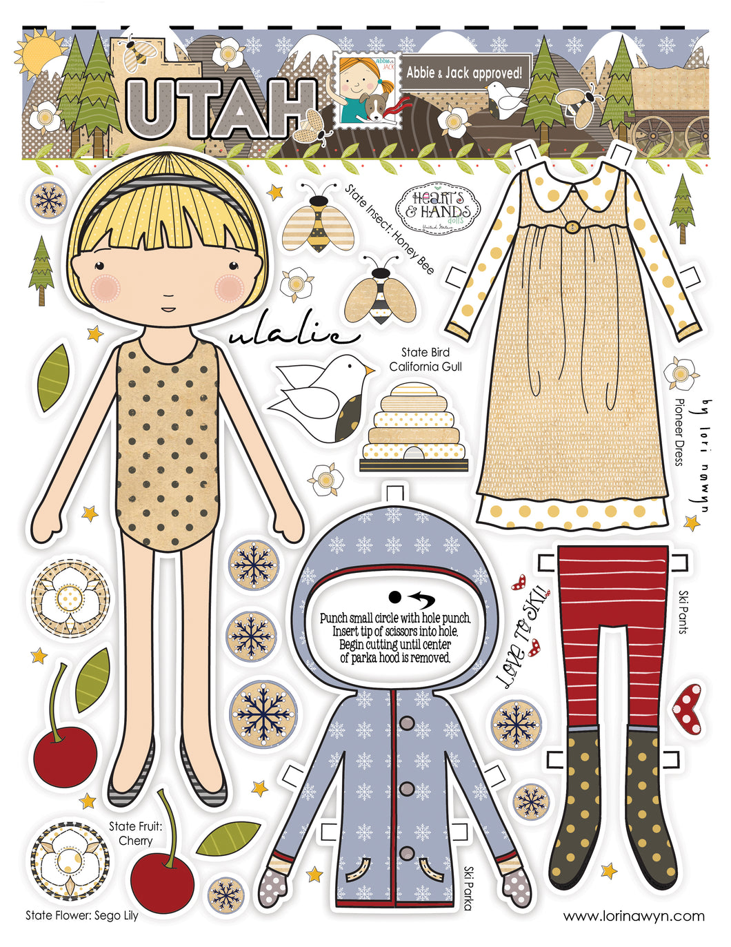 UTAH - DIY DIGITAL DOWNLOAD PAPER DOLL