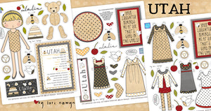 UTAH - ULALIE COMPLETE 6 PAGE PAPER DOLL KIT