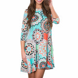 Women Summer Sundresses Casual Mini Party Dresses 2017vestidos femininos Vintage Boho Beach Floral Printed Dress Women Clothing - Awe Lady