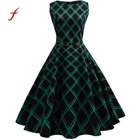 Women Autumn Spring Dress Vintage Print Floral Bodycon Plaid Sleeveless Casual Retro Vintage Elegant Tunic Vestidos - Awe Lady