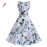 Floral Print Women Spring Dress Hepburn 50s 60s Vintage Bodycon Sleeveless A-Line Party Dresses With Belt Sundress - Awe Lady