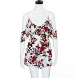 Awe Lady- Floral Print Silk Rompers - Awe Lady