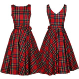 Red Vintage Sleeveless Dress - Awe Lady