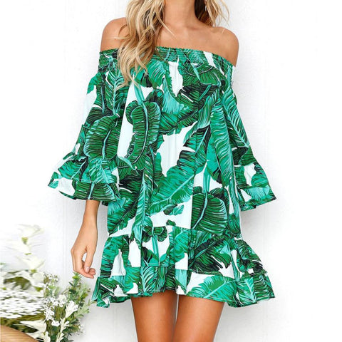 Shoulder Length Leaf Print Dress - Awe Lady
