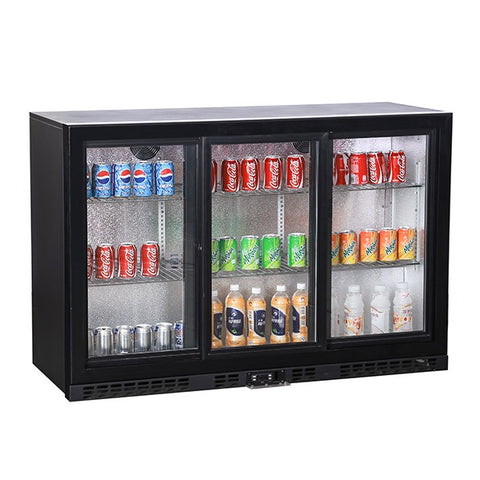 Coolbox BC3SL Black Bar Sliding Three Door Bottle Cooler (338 Bottles)