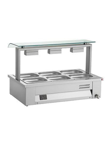 Inomak MEV610 3 x 1/1 GN Counter Top Bain Marie With Sneeze Guard