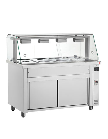 Inomak MFV718 5 X 1/1 GN Bain Marie with Glass Structure