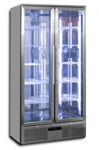 Prodis NT20ST-HC Hinged Double Door Upright Stainless Steel Bottle Cooler