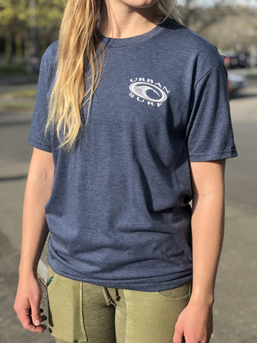 Men & Women's Retro Logo Tee - Navy Frost - Urban Surf