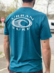 Men & Women's Retro Logo Tee - Heather Teal - Urban Surf