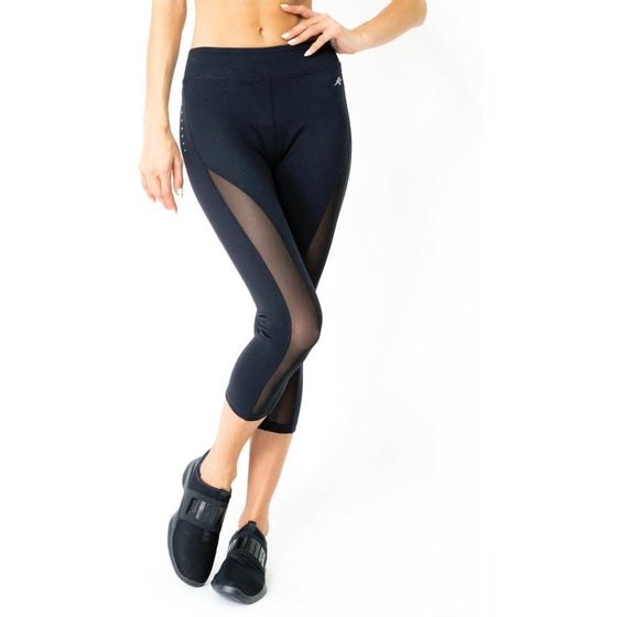 Espace Low-Waisted Capri Leggings With Mesh Panels and Reflective Strips