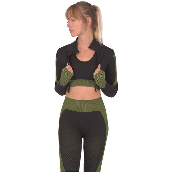 Trois Seamless Sports Jacket - Black With Green
