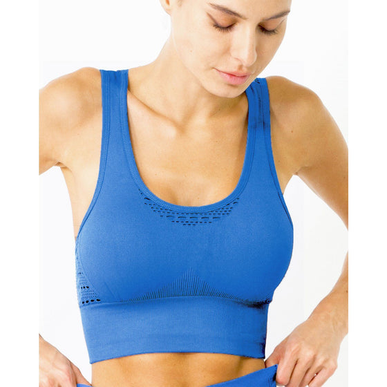 Mesh Seamless Bra With Cutouts - Blue