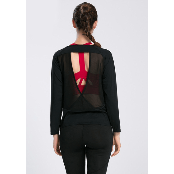 Backless Drape Cut Out Back T-shirt - Fits4Yoga