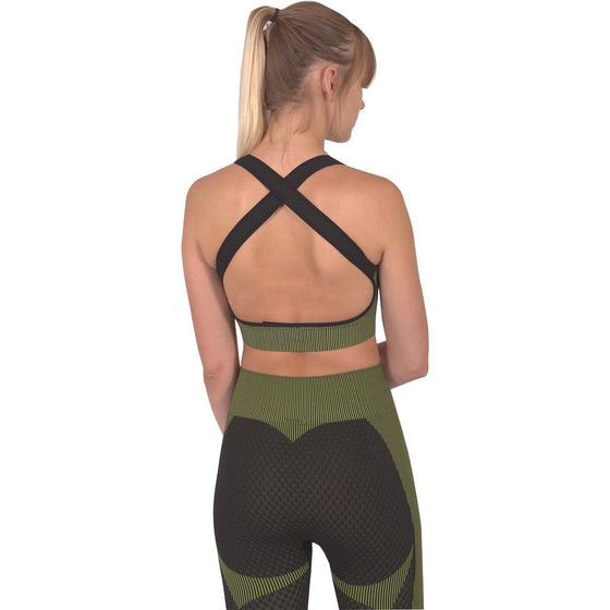 Trois Seamless Sports Bra - Black With Green