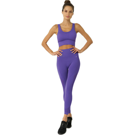 Mesh Seamless Legging With Ribbing Detail - Purple | Savoy Active