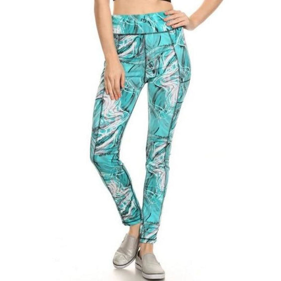 Blue Water Flow Yoga Leggings