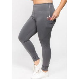High Waist Tech Pocket CHARCOAL leggings | Fits4Yoga