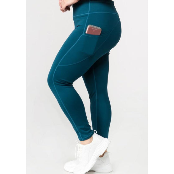 Teal High Waist Tech Pocket Workout Leggings | Fits4Yoga
