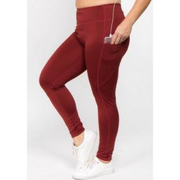 Red Wine High Waist Tech Pocket Workout Leggings | Fits4Yoga