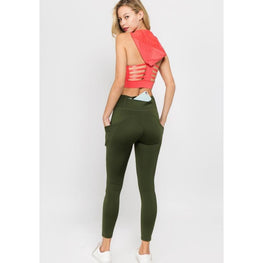 High Waist Tech Pocket Army Green Leggings | Fits4Yoga