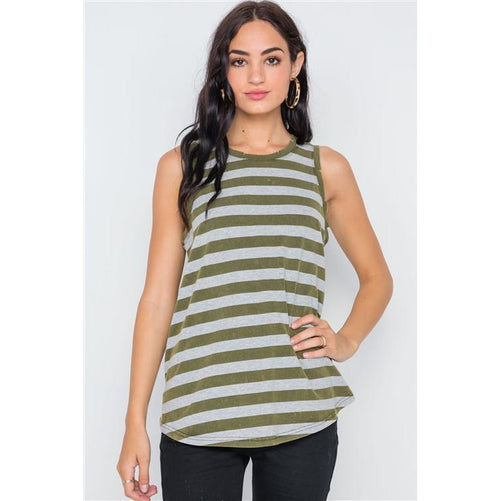 OLIVE COLOR-BLOCK DISTRESSED YOGA TANK TOP (In Store Only) | Fits4Yoga