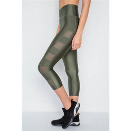 OLIVE PHONE POCKET CAPRI MESH DETAIL YOGA LEGGINGS (IN STORE ONLY) | Fits4Yoga
