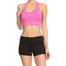 Pink Bra w/zipper pull Focus | Fits4Yoga