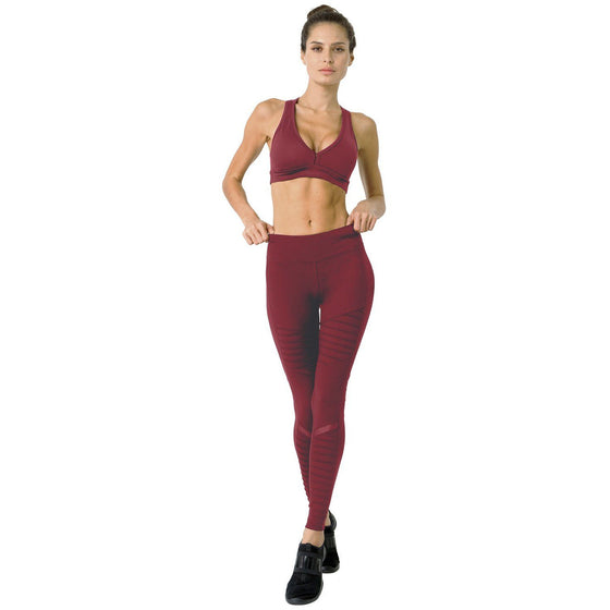 Athletique Low-Waisted Ribbed Leggings With Hidden Pocket and Mesh Panels - Red