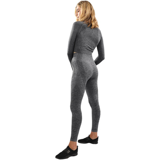 Fratessa Seamless Leggings & Sports Top Set - Charcoal